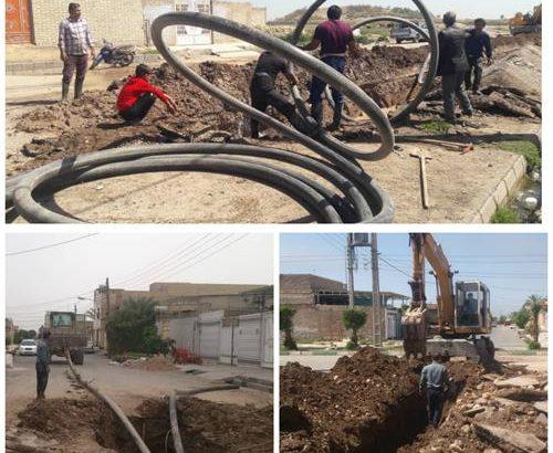 افزایش فشار آب شرب با اجرای عملیات اصلاح و توسعه شبکه آب در شهر میانرود دزفول
