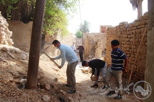 عملیات پیاده روسازی و کف سازی بافت تاریخی درمنطقه عامری اهواز آغازشد
