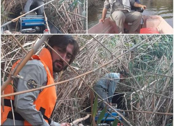 کشف و ضبط ادوات صید غیر مجاز در تالاب هورالعظیم