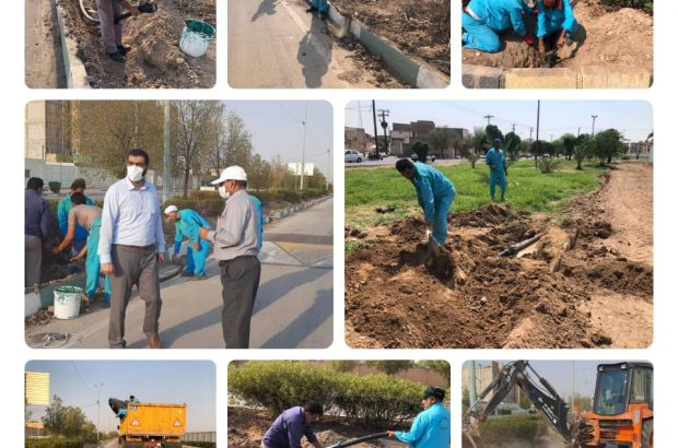 لوله گذاری جهت سیستم آبیاری قطره ای در بلوارعلوی شهرداری منطقه ۴